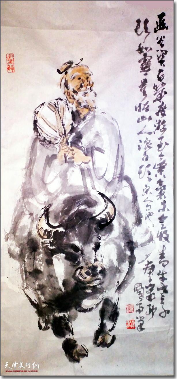 李凤雨作品:《青牛老子头如雪,莫怪山人浪白头》 (水墨画)