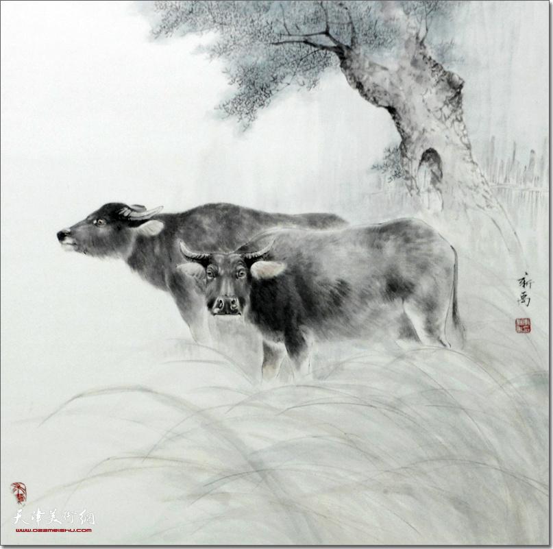 李新禹作品:《双牛图》 (水墨画)