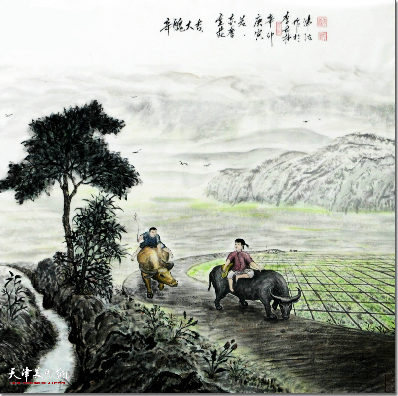 李岳林作品:《辛丑大吉》 (水墨画)