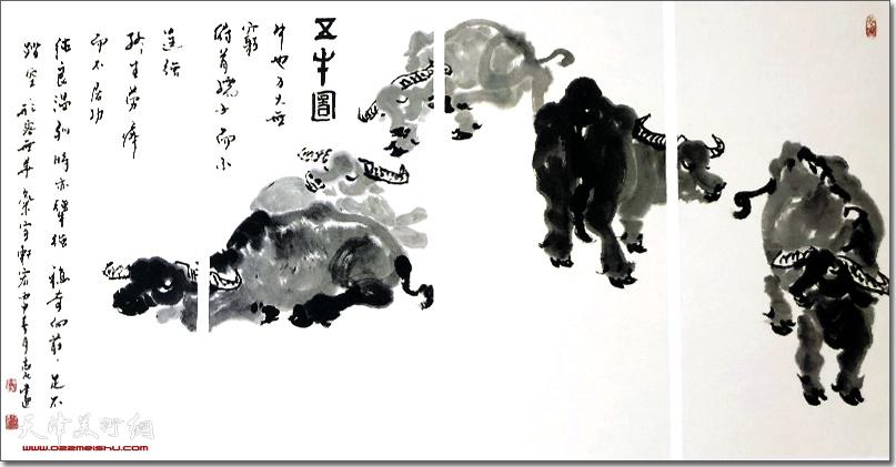李志民作品:《五牛图》 (水墨画)