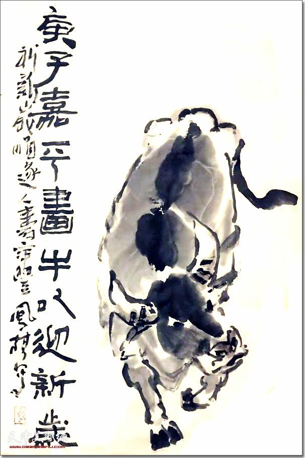 刘凤棋作品:《迎新岁》 (水墨画)