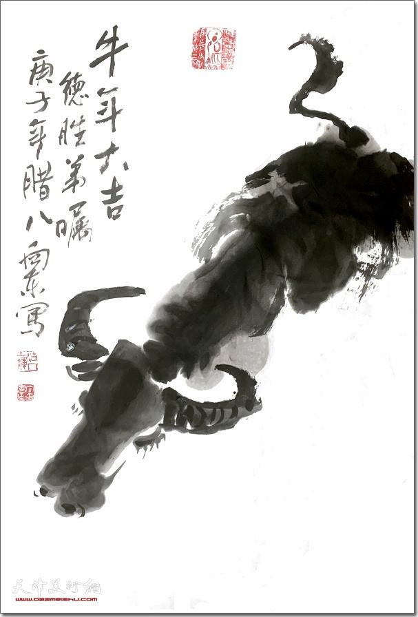刘向东作品:《牛年大吉》 (水墨画)