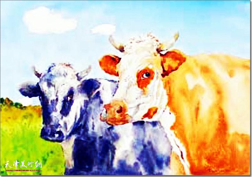 吕培桓作品:《双牛》 (水彩画)