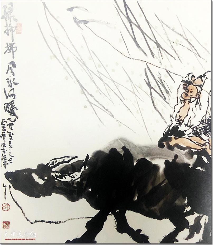 吕云所作品:《绿柳拂风》 (水墨画)