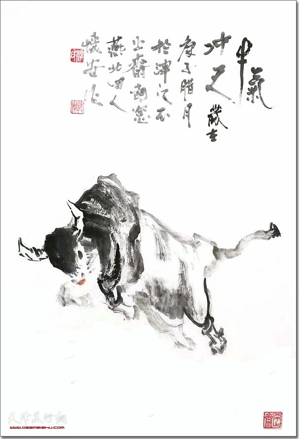 穆怀安作品:《牛气冲天》 (水墨画)