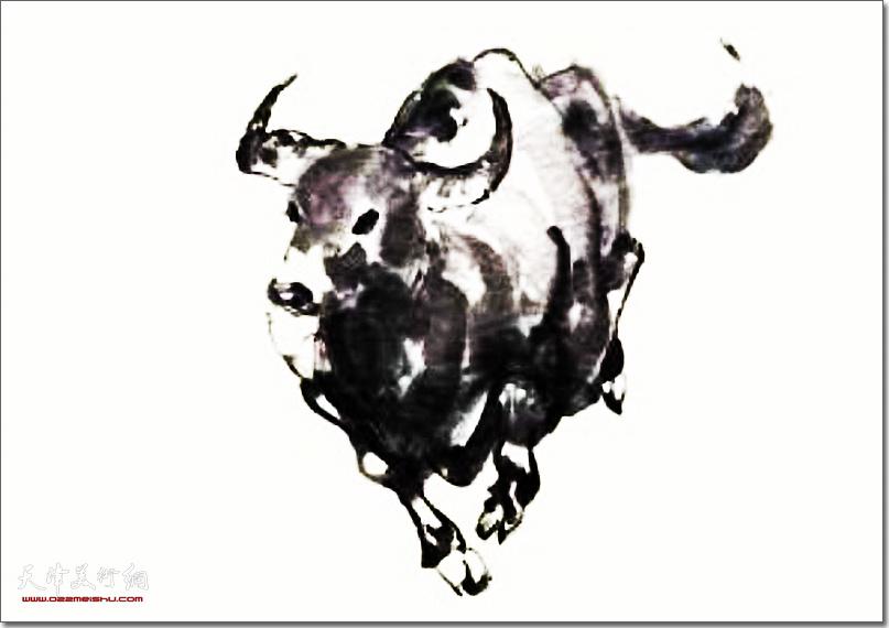 庞黎明作品:《牛气》 (水墨画)