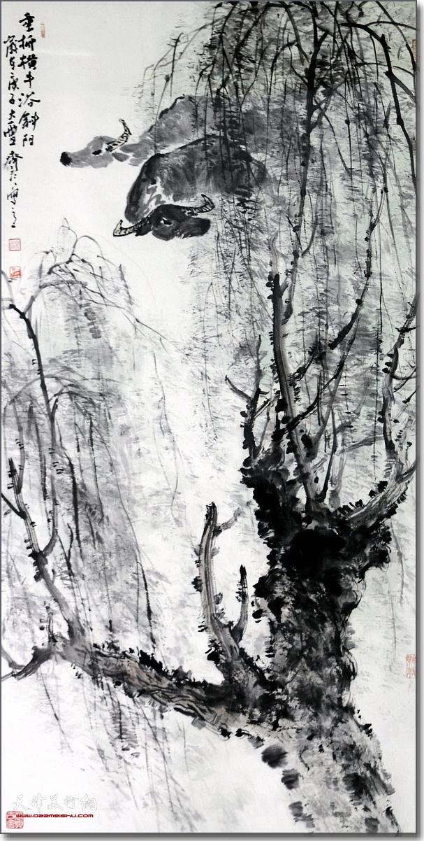 齐彦作品:《垂柳横牛浴斜阳》 (水墨画)