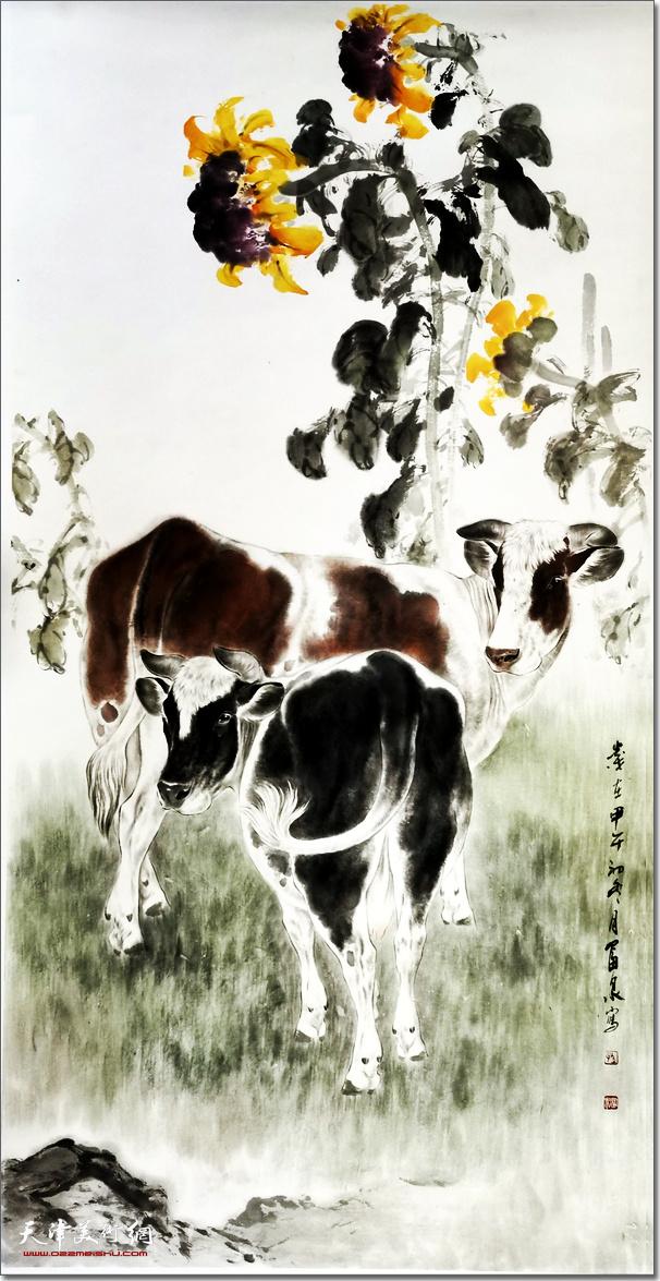 孙富泉作品:《阳光灿烂》 (水墨画)