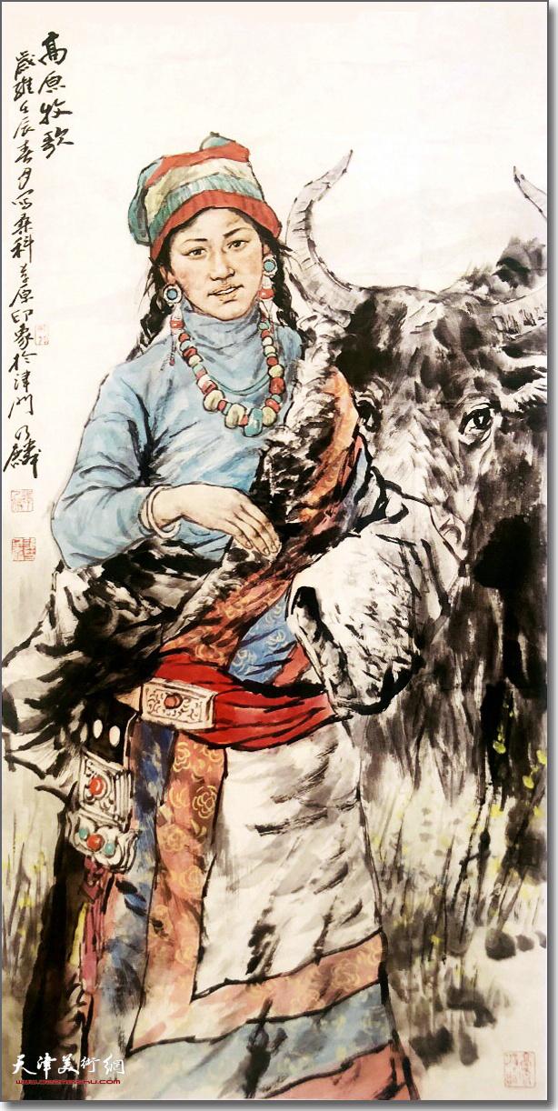 谭乃麟作品:《高原牧歌》 (水墨画)