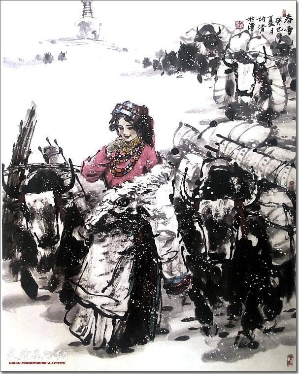 田均清作品:《春雪》 (水墨画)