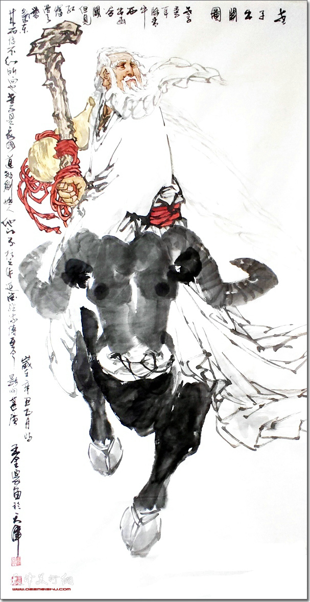 王金厚作品:《老子出关图》 (水墨画)