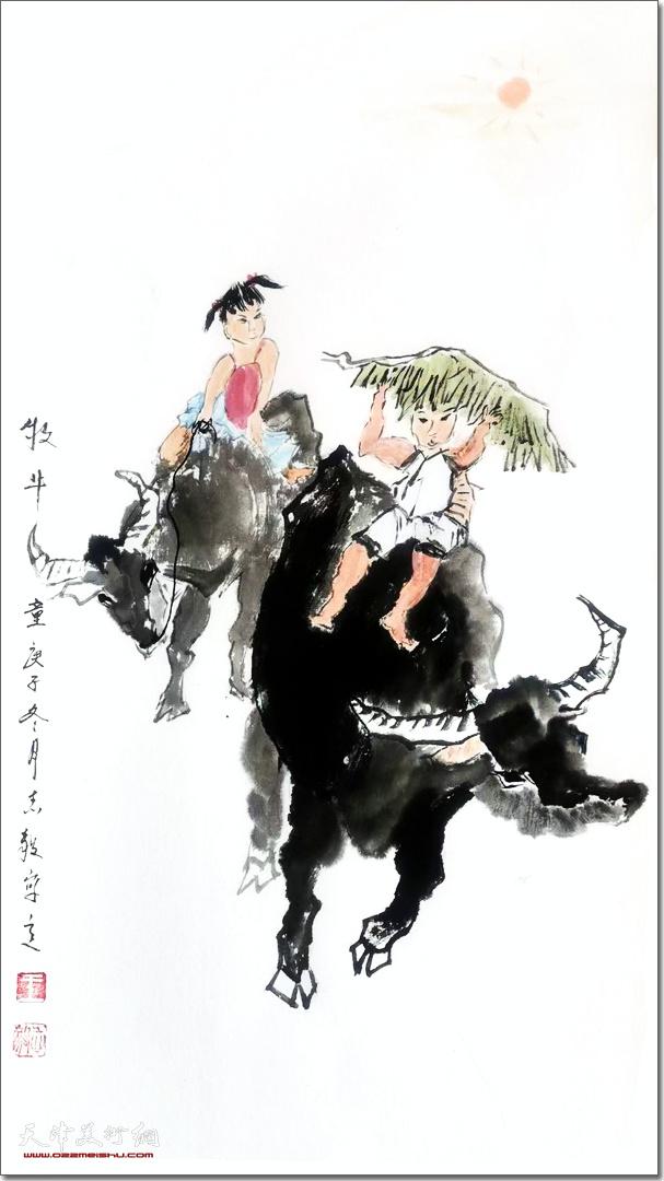 王志毅作品:《牧牛童》 (水墨画)