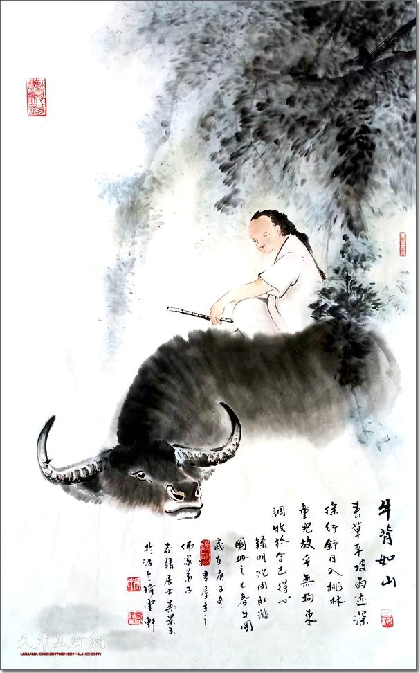 吴景玉作品:《牛背如山》 (水墨画)