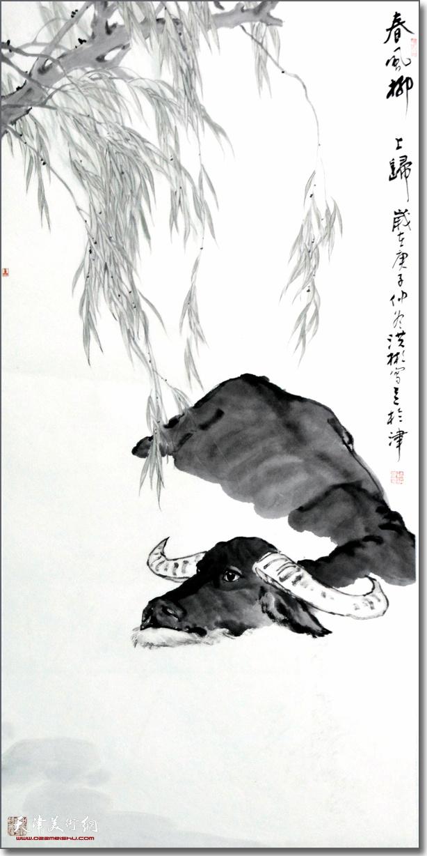 徐洪彬作品:《春风柳上归》 (水墨画)