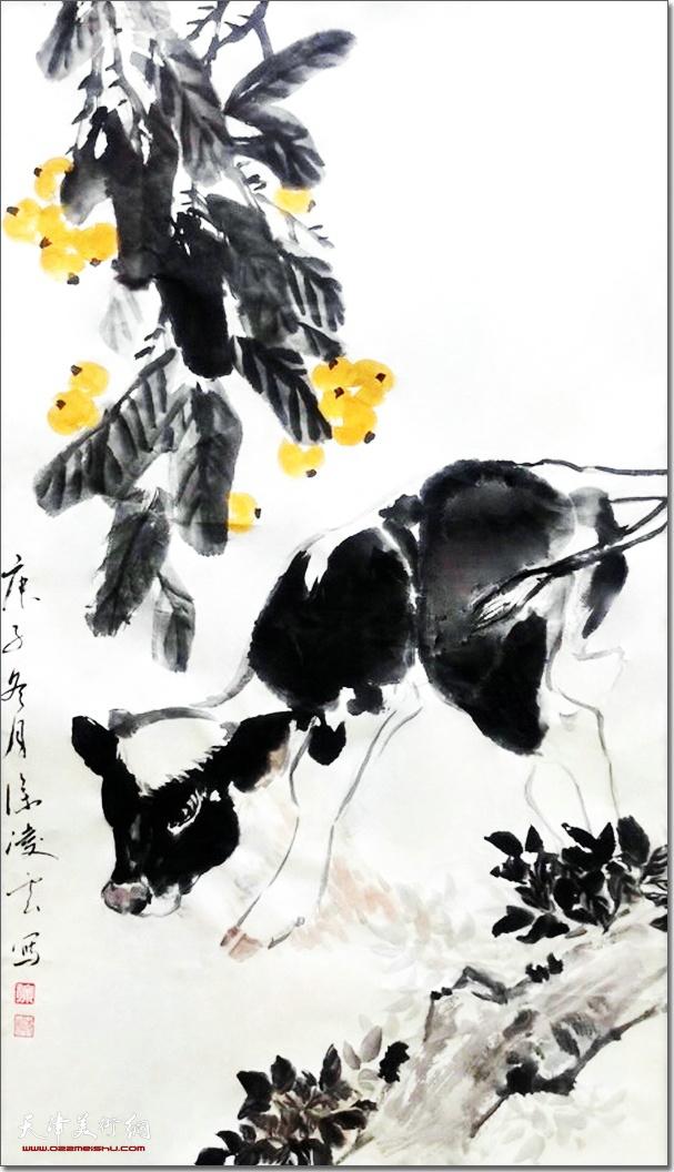 徐凌云作品:《福牛》 (水墨画)