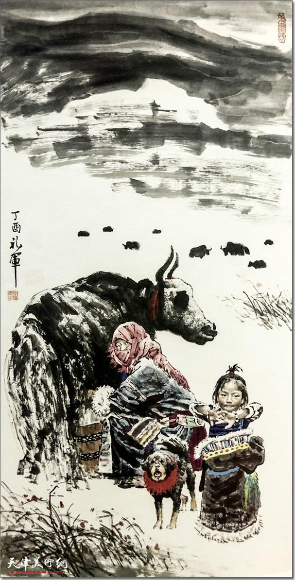 张礼军作品:《雪域风情》 (水墨画)