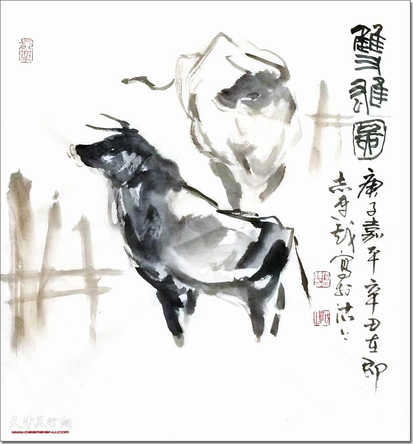 张志连作品:《双雄图》 (水墨画)