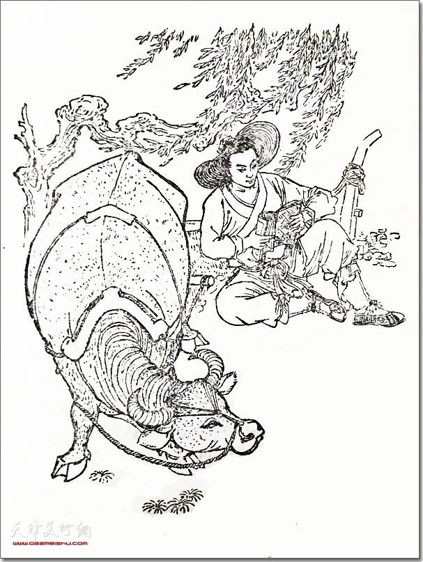 张锡武作品:《古人勤学的故事》 (白描 插图)