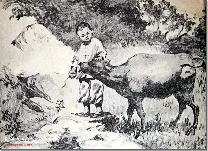 杨逸麟作品:《鹏飞和他的小黄牛》 (水墨 连环画选)
