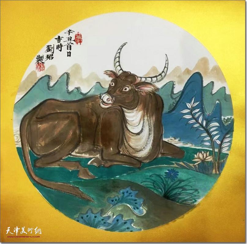 刘珺作品:《祥牛图》 (水墨画)