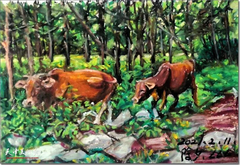 刘莉莉作品:《林间的牛》 (油画)