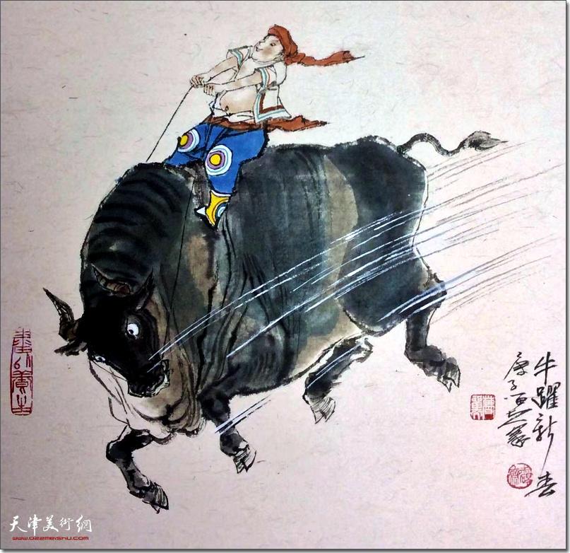 曹留夫作品:《牛跃新春》 (水墨画)