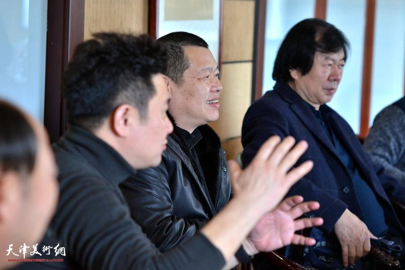 史振岭、谭乃麟、朱懿在海顺印业名家雅集现场。