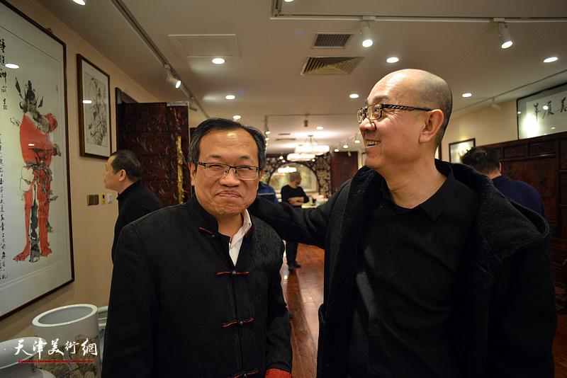 杨惠东、马驰在海顺印业名家雅集现场。