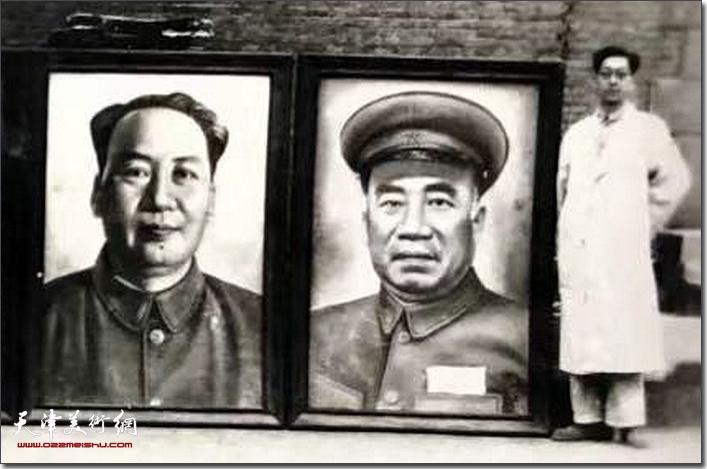 杨霖先生上世纪50年代初,为天津海河广场绘制领袖像。