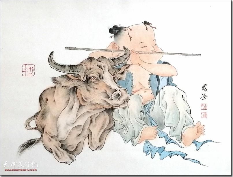 画家由国荣作品:《丑牛吉祥》